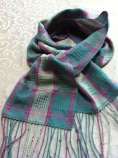 Atwater-Bronson Lace Handwoven Scarf in Tencel with Hand Twisted Fringes, Beads and Italian Hemstich. $115.00, via Etsy.