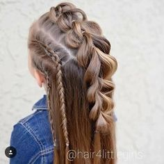 "149 Likes, 7 Comments - Liz (@hair4littlegirls) on Instagram: ""Pull through braid mohawk with side lace braids"""