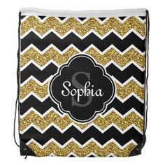Black White Gold Glitter Chevron Pattern Drawstring Backpack #drawstring #backpack