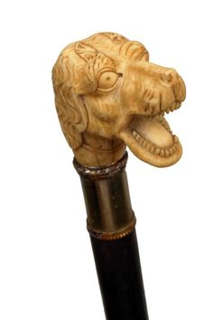Exceptionally carved Ivory dog head cane.