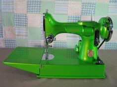 Wow, I never knew sewing machines came in colors other than black or white, I remember the one my Mom had, it used foot power instead of electricity! Remember those?