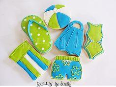 Swimming Cookies, Swim Party Cookies, Bathing Suit Cookies, Summer Cookies - 1 Dozen Decorated Cookies