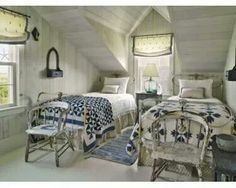 Blue and white bedroom. Love the mismatched quilts