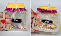 Jarful o' Joy Card •Cardstock, clear plastic bag, confetti, tape, twine, fabric scrap #interactive