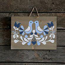 Obrázky - Folklórny ornament na dreve v modrom - 7187566_