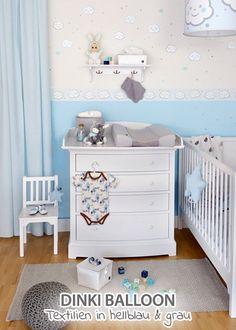 Spectacular Dinki Balloon Babyzimmer uWolkenkinder u hellblau grau im Fantasyroom Shop online bestellen oder