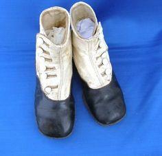 Antique Victorian Childs Button Shoes Black & White