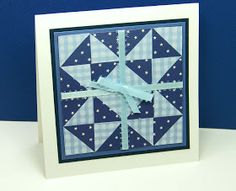handmade quilt card fromCurt's World blog ... monochromatic ... fun pieced work in light blue gingham print and navy polka dot print ... luv it!
