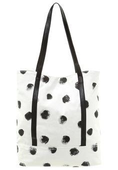 duża torba shopper bag na zakupy na plażę biała w kropki
