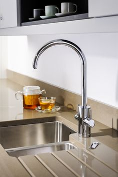 The slim line Profile Monobloc mixertap shown here is part of our Pronteau 4 in 1 hot tap range offering instant hot water and filtered cold water.