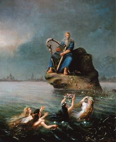 Väinämöinen is playing his zithor in Rudolf Åkerblom's painting. #Väinämöinen #Åkerblom #Kalevala