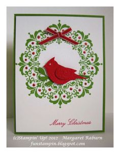 handmade Christmas card  ... Daydream Medallions Wreath ... luv the cardinal from the two step bird punch ... great use of the stamps ... like it!! ... Stampin' Up!