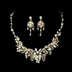 Beautiful!  Gold Floral Fantasy Freshwater Pearl Bridal Jewelry Set - Affordable Elegance Bridal -