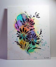 Bleeding Art Tissue Technique plus a Donna Downey Stencil - Painted Flowers.