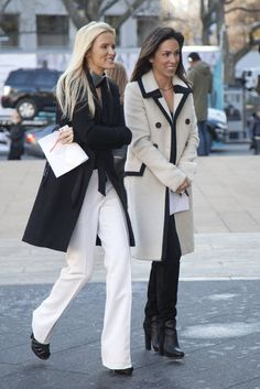 A must have in any color - the perfect Trench and boot cut trousers!!! But only where white trousers if you're skinny and in the correct season!!!!!!