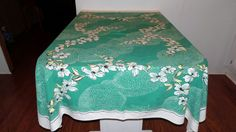 Vintage Dogwood Tablecloth Leacock Brand  by BridenetVintageLinen