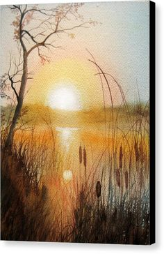 watercolor art landscape Watercolor Painting - Sunlight Through Cattails by Katherine Larson Watercolor Pictures, Watercolor Landscape Paintings, Landscape Art, Sunset Watercolour, Landscape Rocks, Landscape Borders, Simple Watercolor, Watercolor Canvas, Forest Landscape