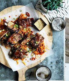 Recipe for barbecued lamb ribs with yuzu-sesame yakiniku sauce from Gas-Light…