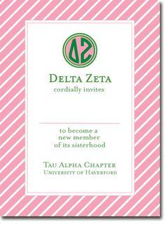 Cute Delta Zeta Sorority Bid Day Card!