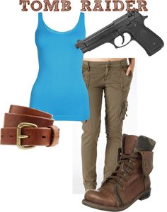 "Clothes similar to what Lara Croft is wearing in ""Tomb Raider"", which she will need to keep functional if she is going to survive Yamatai."