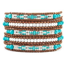 Turquoise Silver Mix Wrap Bracelet on Natural Brown Leather - Chan Luu