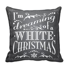 White Christmas Chalkboard Style Pillow
