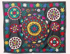 Antiques Beautiful Uzbek Hand Embroidered Silk On Cotton Old Suzani Of Baysun Ve-07