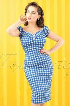Collectif Cloting Dolores Gingham Pencil Dress in Blue 17710 20151119 0006