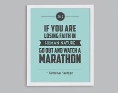 Boston Marathon 26.2 Kathrine Switzer Retro Print - Typographic Inspirational Running Quote - 8x10