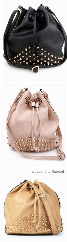 Love the pink one! Right amount of grunge and sweetness! Studded Drawstring Bags / Purses #studded
