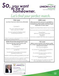 So you want to be a new homeowner? Let's find your perfect match. What loan options are out there?