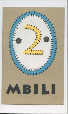 mbili (two)... swahili flashcards 4x6 inches hand-cut and sewn paper collage