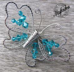 "Motýl- brož Swarovski \""Blue zircon\"""