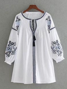 Embroidery Dress Women Lace Up O Neck Three-Quarter Sleeve Autumn White Dress Short-Dresses-SheSimplyShops Kurta Designs, Blouse Designs, White Dress Fall, White Mini Dress, Stylish Dresses, Casual Dresses, Short Dresses, Summer Dresses, Vestidos Gg