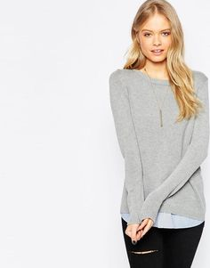 ASOS | ASOS Jumper With Crew Neck and Woven Hem at ASOS