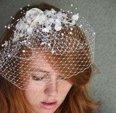 whimsical birdcage veil
