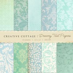 Dreamy Teal Vintage Digital Papers for by CreativeCottageCo, $12.00