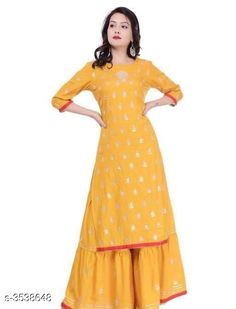 Kurta Sets Women's Embroidered Rayon Kurta with Sharara Fabric: Kurti - Rayon Sharara - Rayon Size: Kurti - 38 in 40 in 42 in 44 in Sharara - 30 in 32 in 34 in  36 in Length: Kurti  - Up To 40 in  Sharara - Up To 38 in Type: Stitched Description: It Has 1 Piece Of Kurti & 1 Piece Of Sharara Color: Yellow Work: Kurti - Gota Work Sharara - Gota Work Country of Origin: India Sizes Available: 38, 40, 42, 44   Catalog Rating: ★4.3 (592)  Catalog Name: Women's Embroidered Rayon Kurta Set with Sharara CatalogID_492958 C74-SC1003 Code: 736-3538648-