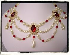 Faux Ruby and Pearl Necklace only $34 on Etsy!?! Must have!