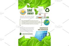 Green energy and nature ecology vector poster. Water Infographic #energysaving