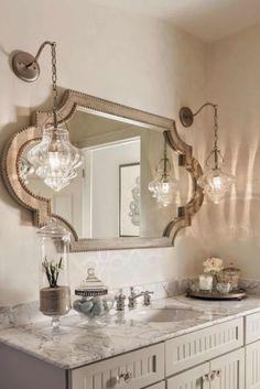 Casabella Home Furnishings and Interiors New house Bathroom decorative bathroom mirrors - Bathroom Decoration Decorative Bathroom Mirrors, Bathroom Mirror Design, Silver Bathroom, Bathroom Styling, Small Bathroom, Bathroom Lighting, Vanity Bathroom, Vanity Lighting, Master Bathrooms