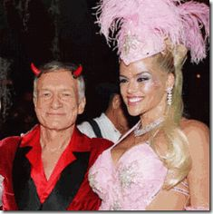 """October 30, 2004, Hugh Hefner (the DEVIL) and Anna Nicole Smith– Halloween Party at the Playboy Mansion. I suspect that a very select group of Hefner's Guest Playmates (Presidential Models)- ultra secret MK ULTRA/MONARCH """"Sex Toys"""" like Anna Nicole Smith come packaged with preset codes, keys and triggers programmed special to served a very select elite and powerful Satanic circle."""