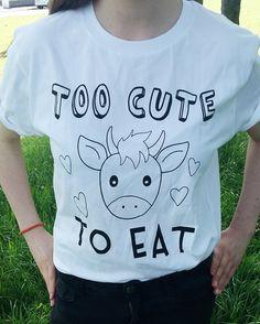 UNISEX - Vegan Shirt - Too Cute To Eat Vegan T-Shirt, Vegan Tees, Vegetarian T-Shirt, Vegan Gift, Unisex Vegan Shirts, Funny Vegan T-Shirt