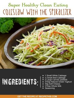 Spiralizer Recipes | Super Healthy Clean Eating Coleslaw With The Spiralizer