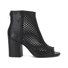 Ash Women's Fancy Bis Peep Toe Leather Heeled Ankle Boots found on Polyvore featuring polyvore, fashion, shoes, boots, ankle booties, black, black ankle booties, black bootie, black leather bootie and black leather booties
