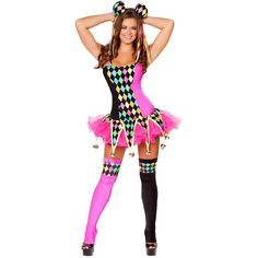 adult lusty laughter sexy costume 98 liked on polyvore featuring costumes halloween - Halloween Costumes Harlequin