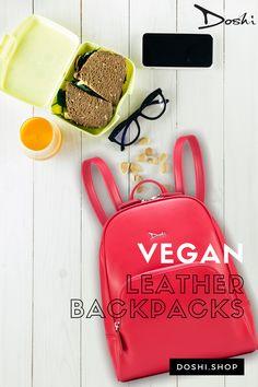 Vegan Debut Slim Backpack. Subtle, sleek, chic and made from a durable, Microfiber PU vegan leather shell. Available in different colors! #veganleather #veganbackpacks #veganbags #crueltyfreefashion #veganfashion #veganfashionaccessories #vegan #crueltyfree #veganbag #redbag #backpack