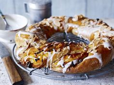 Paul Hollywood's apricot couronne - a crown of rich bread stuffed with apricots, walnuts and raisins