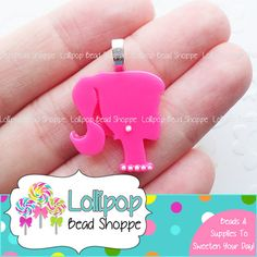 Hot Pink BARBIE Pendants Flat Back Resin Cabochon w/ Bails 2ct Acrylic Chunky Necklace Pendants Bubblegum Beads Decoden by LollipopBeadShoppe, $2.75