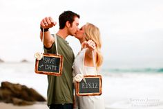 love this use of chalkboards for the save the date